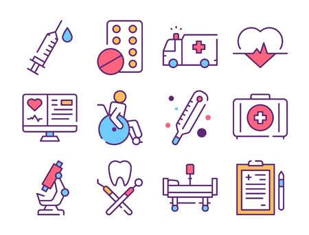 Medicine industry color linear icons set Çizim