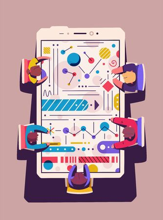 Teamwork at the smartphone desk. Coworking concept. Cartoon vector illustration. Flat style. Big device. View from above. Creative team
