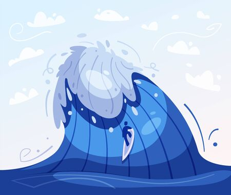 Surfing concept. Cartoon vector illustration. Catch the wave