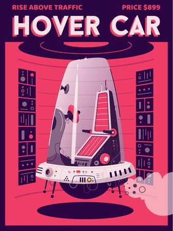 Hover car flat vector poster template. Vector cartoon illustration