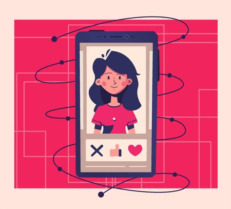 Dating application concept. Choose your soulmate. Cartoon vector illustration. Match, chat and date. Retro style. Smartphone on hand. Swipe photos.