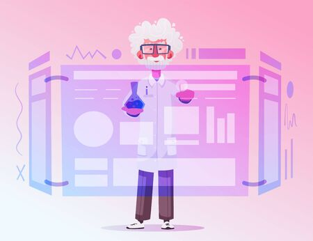 Smart scientist character. Cartoon vector illustration. Doctor is researching or doing an experiment on a screen. Science and technology concept