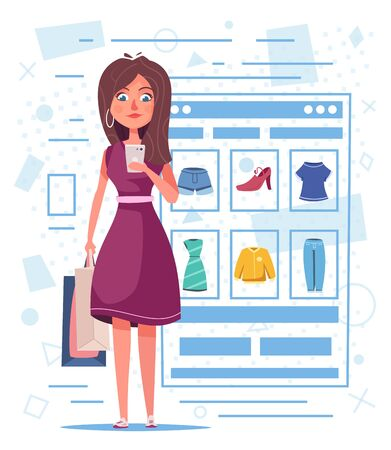 Shopping en ligne. Conception de personnage de belle fille. Illustration vectorielle de dessin animé. La femme achète des vêtements par smartphone