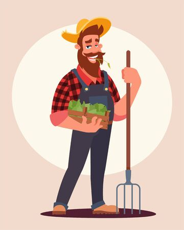 Farmer at work flat vector illustration 向量圖像