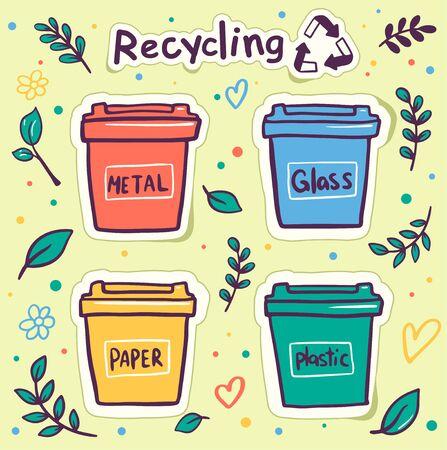 Zero waste flat vector round banner template. Vector illustration