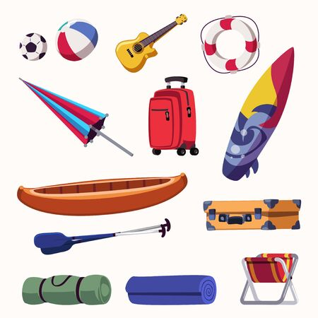 Summer vacation accessories flat vector illustrations set