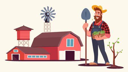 Spring seasonal work on farm flat vector illustration
