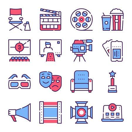Cinema production color icons set.
