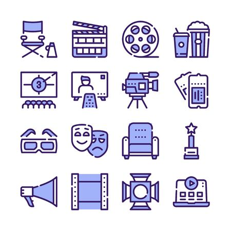 Cinema production color icons set.