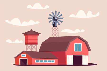 Farmyard buildings flat vector illustration
