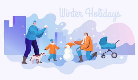 Winter holidays flat banner vector template  イラスト・ベクター素材