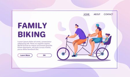 Family bike ride flat banner vector template
