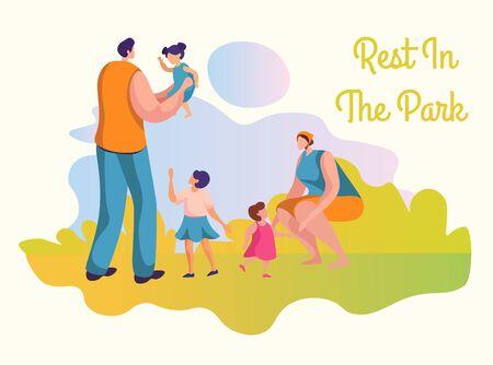 Family activities flat vector illustrations set Ilustração