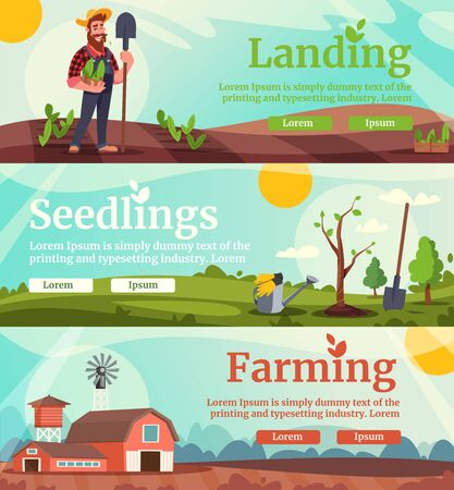 Agricultural business flat vector landing page templates set Çizim