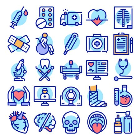 Healthcare system color linear icons set. Illness treatment medication thin line blue contour symbols. Hospital equipment, surgery instruments. Diagnostic tools isolated vector outline illustrations..