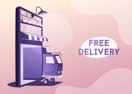 Online delivery. Big smartphone turned into internet shop. Cartoon vector illustration. Concept of mobile digital marketing and e-commerce. Supermarket in device. Awning above online store front door Ilustrace