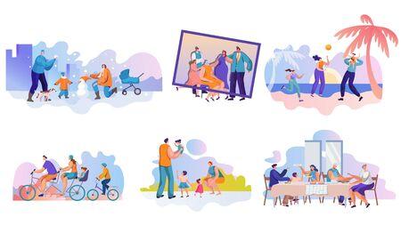 Family activities flat vector illustrations set  イラスト・ベクター素材