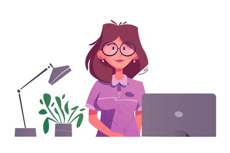 Reception desk. Cartoon vector illustration. Interior design. Young woman receptionist character standing and smiling.
