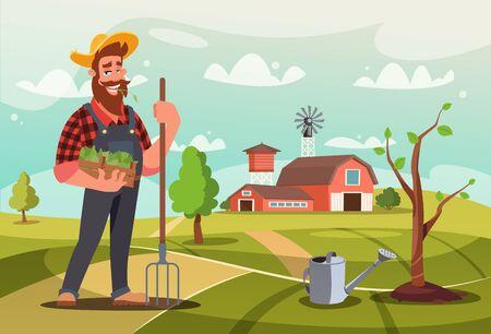 Jardinier au travail illustration vectorielle plane. Expert en horticulture masculine tenant une boîte avec un personnage de dessin animé de semis. Fermier barbu arrosant le jeune arbre. Villageois typique cultivant des produits écologiques à la ferme