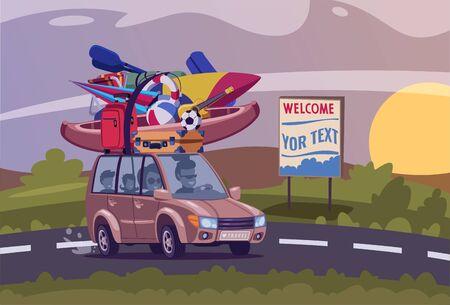 Summertime road trip flat vector illustration