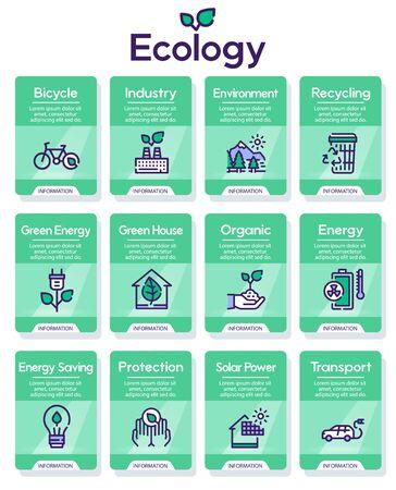 Nature conservation green color linear icons set Banco de Imagens - 131715573