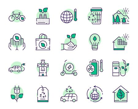Nature conservation green color linear icons set. Environment protection thin line contour symbols. Alternative energy. Eco friendly transport and waste recycling isolated vector outline illustrations