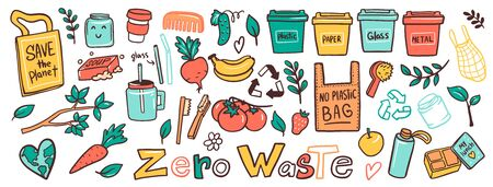 Zero waste lifestyle flat vector illustrations set. No plastic, garbage sorting campaign symbols stickers, icons pack. Eco bags, disposable containers doodles. Nature protection banner design layout Ilustracja