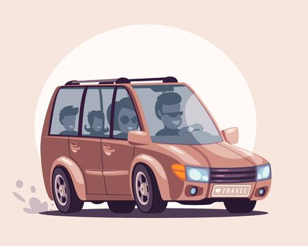 Road trip flat vector illustration. Parents, children enjoying travelling by car cartoon characters. Smiling husband and wife taking kids for summer vacation. Happy family pastime, entertainment idea Illusztráció