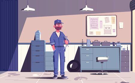 Car repair shop. Cartoon vector illustration. Garage indoor. Mechanic character design. Male happy engineer. Auto service. Service concept