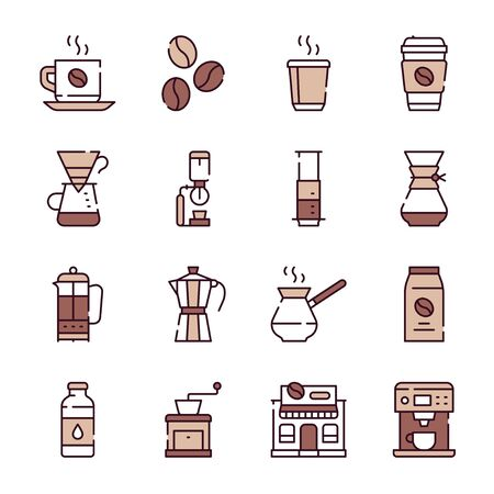 Natural coffee color linear icons set
