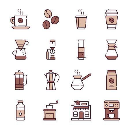 Zestaw ikon liniowych w kolorze naturalnej kawy