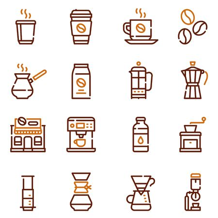 Natural coffee color linear icons set. Tasty morning drink thin line contour symbols. Delicious energising beverage. Espresso ingredients and barista tools isolated vector outline illustrations
