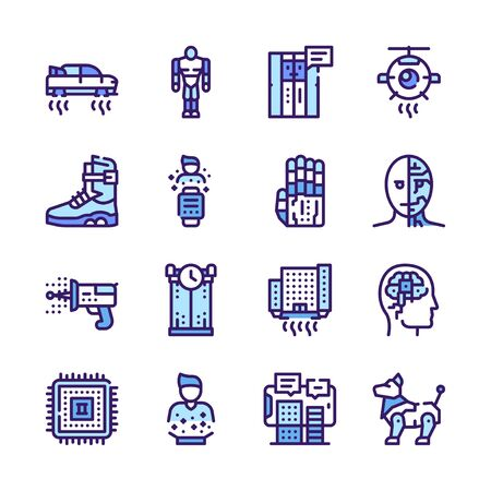 Ai color linear vector icons set
