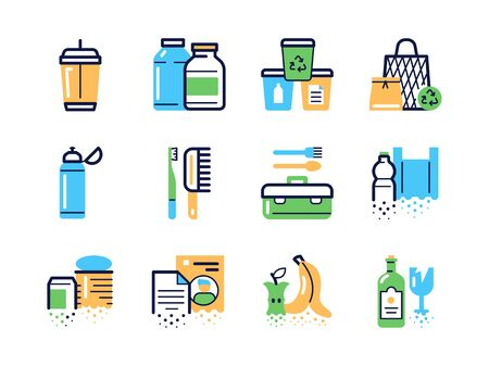 Zero waste color linear icons set  イラスト・ベクター素材