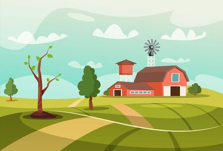 Old farm flat vector illustration Çizim
