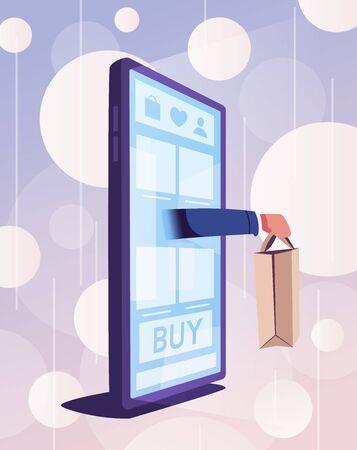 Online shopping. Big smartphone turned into internet shop with door. Cartoon vector illustration