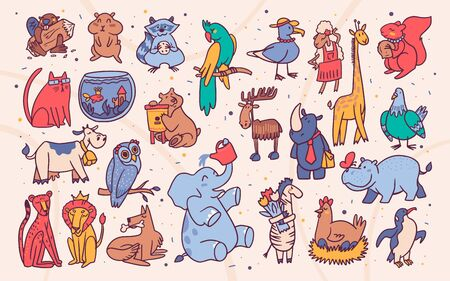 Cute animals cartoon illustrations set