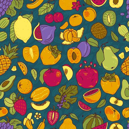 Fruits color hand drawn vector seamless pattern