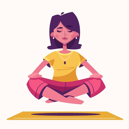 Meditation health benefits for body, mind and emotions. Cartoon vector illustration. Female character. Woman flies. Yoga lotus pose practice. Office worker avoid stress