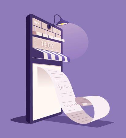 Online check. Big smartphone turned into internet shop with door. Cartoon vector illustration Ilustração