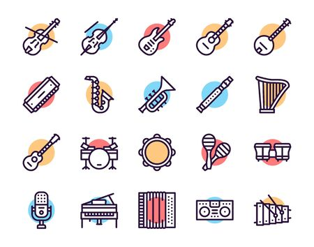 Musician equipment colorful linear icons set. Classic, rock, jazz and country music thin line contour symbols. Stringed, wind and percussion instruments isolated vector outline illustrations