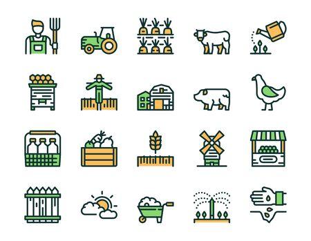 Farming color linear icons set