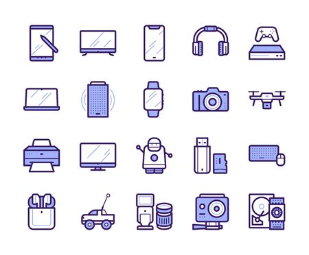 Modern gadgets color linear icons set