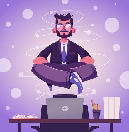 Meditation health benefits for body, mind and emotions. Cartoon vector illustration
