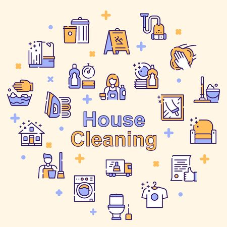 Cleaning service linear icons set 矢量图像