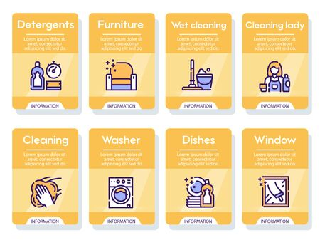 Cleaning service linear icons set Çizim