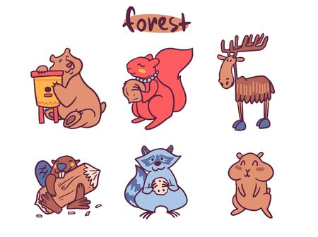Cute animals cartoon illustrations set. Adorable woodland, farm and jungle forest mammals. Funny wildlife collection. Elephant, giraffe, penguin characters. Zoo animals stickers, childish prints pack Banque d'images - 131490531