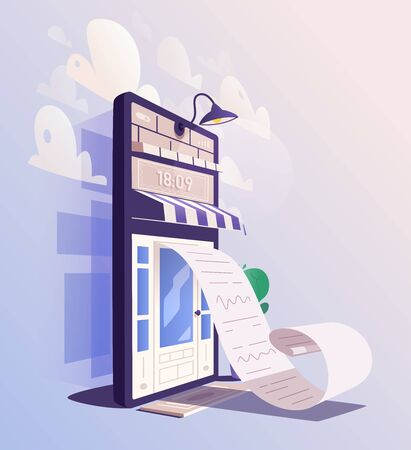 Online check. Big smartphone turned into internet shop. Cartoon vector illustration. Huge bill. Concept of mobile digital marketing and e-commerce. Supermarket in device. Online store front door