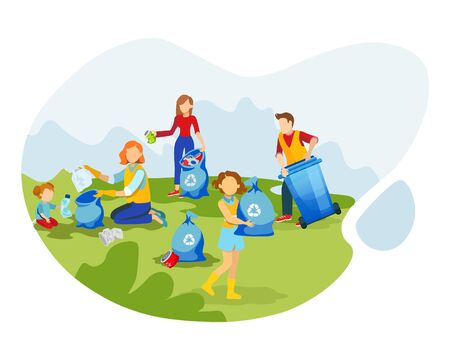 Volunteers cleaning up environment flat illustration. People collecting litter in park cartoon characters. Girls and guy gathering trash, reduce pollution. Waste management, garbage recycling concept