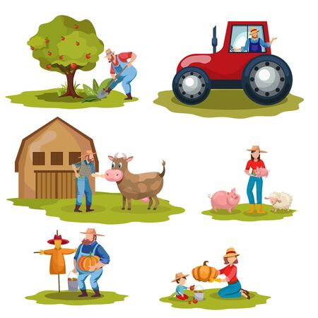 Farming flat vector illustrations set. Dairy and livestock farm workers. Agriculture, backyard gardening, autumn harvest concepts. Farmers, tractor driver cartoon characters isolated on white Banque d'images - 131491411